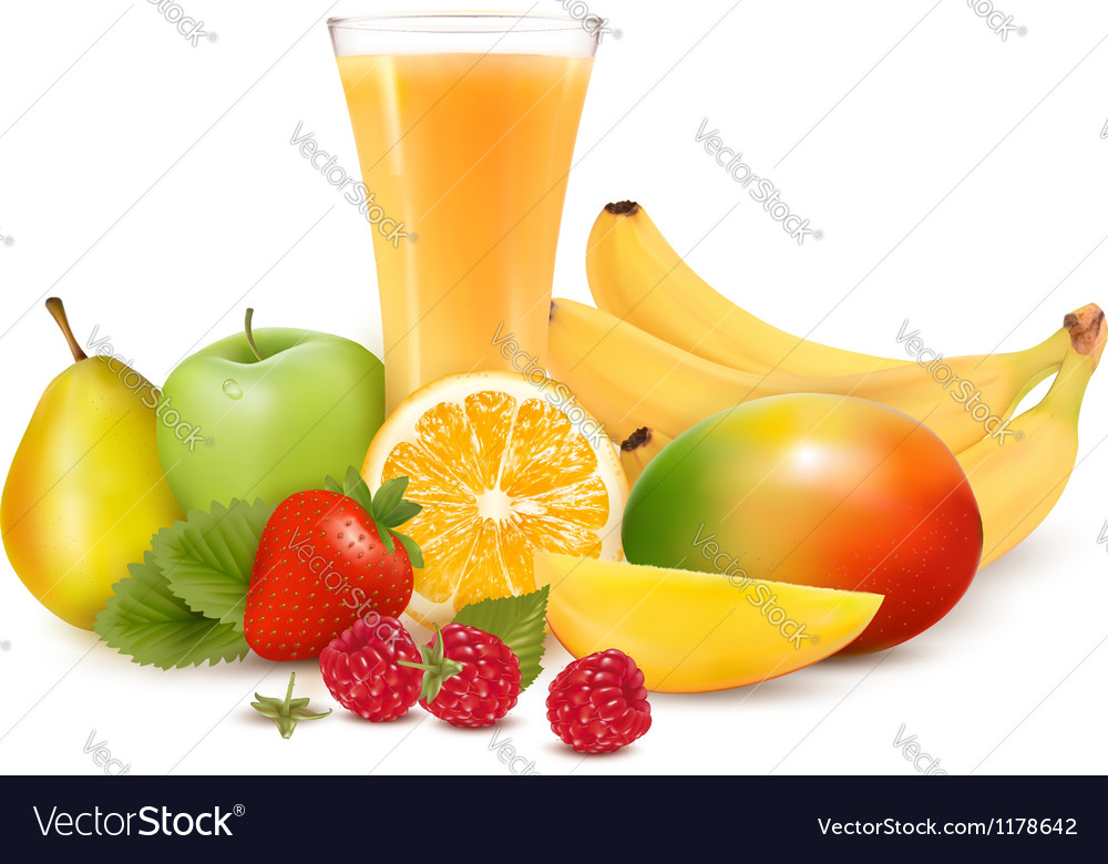 Fresh color fruit and juice vector | Price: 3 Credit (USD $3)
