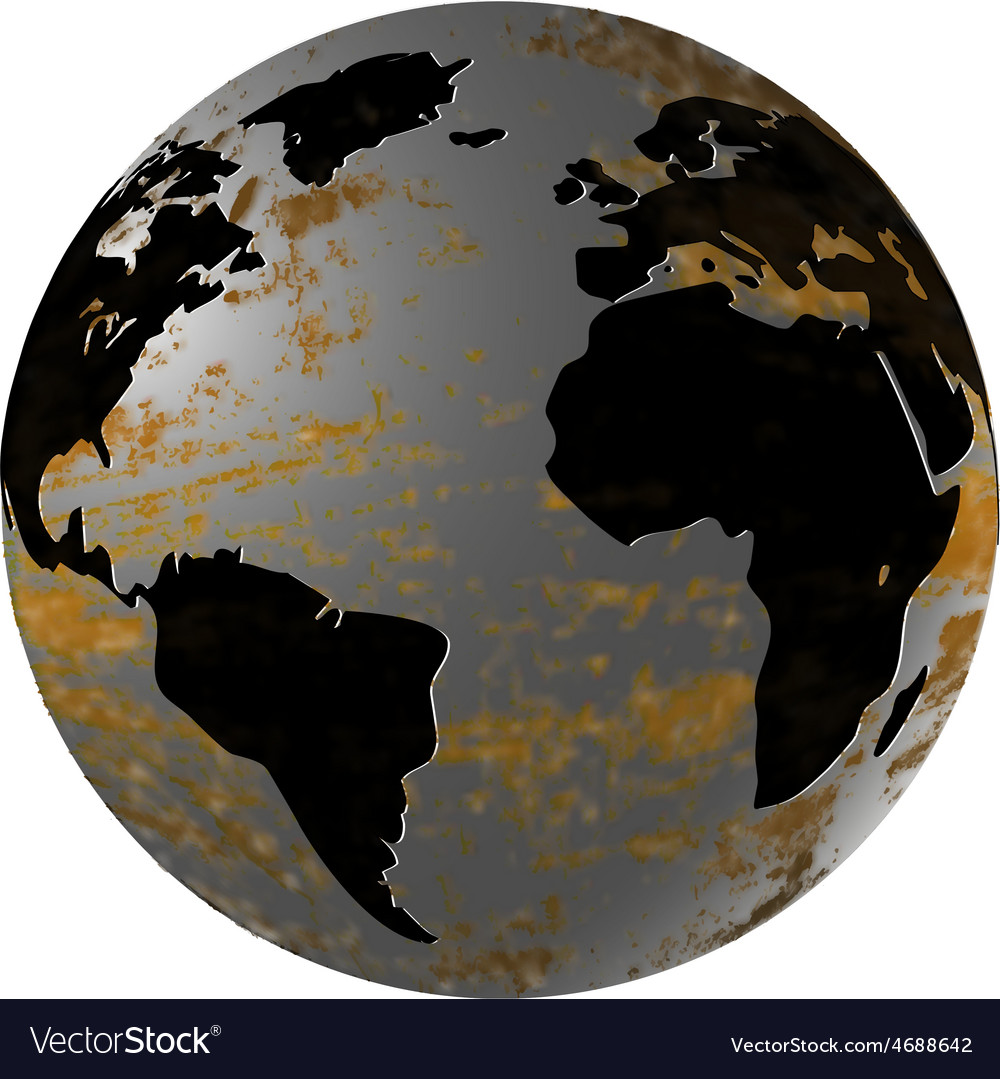 Iron planet earth isolated object vector | Price: 1 Credit (USD $1)