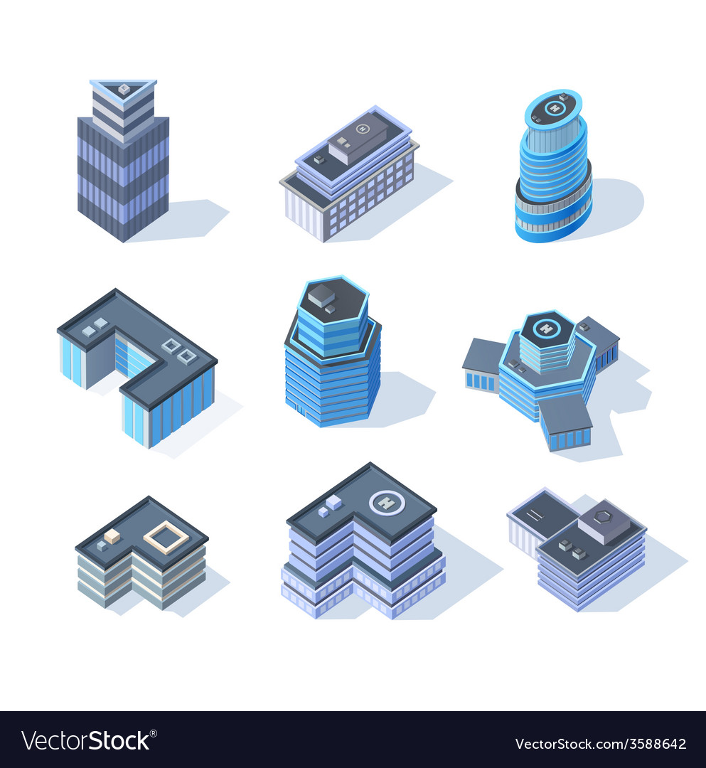 Isometric business city center buildings set vector | Price: 1 Credit (USD $1)
