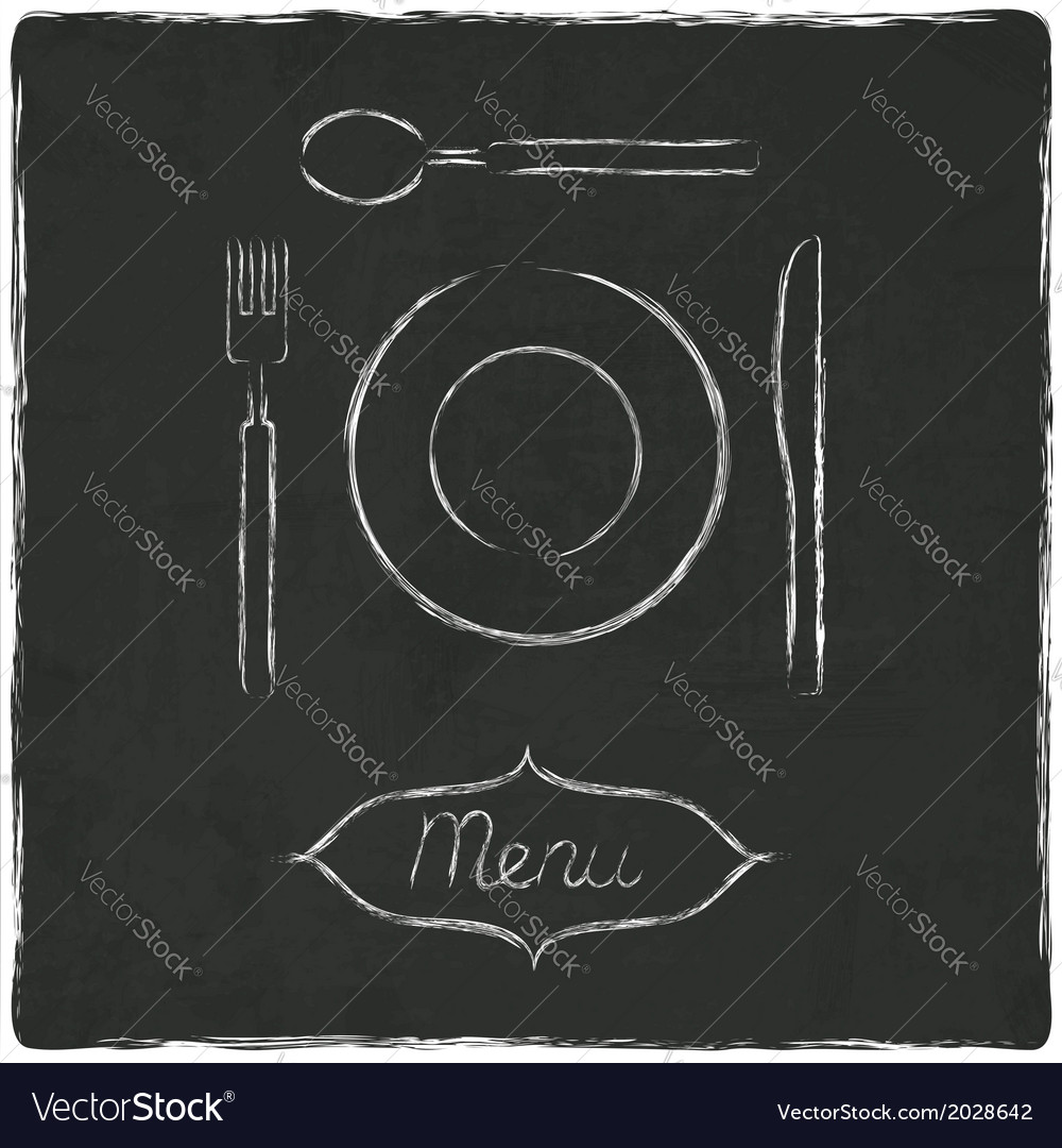 Menu on old black board vector | Price: 1 Credit (USD $1)