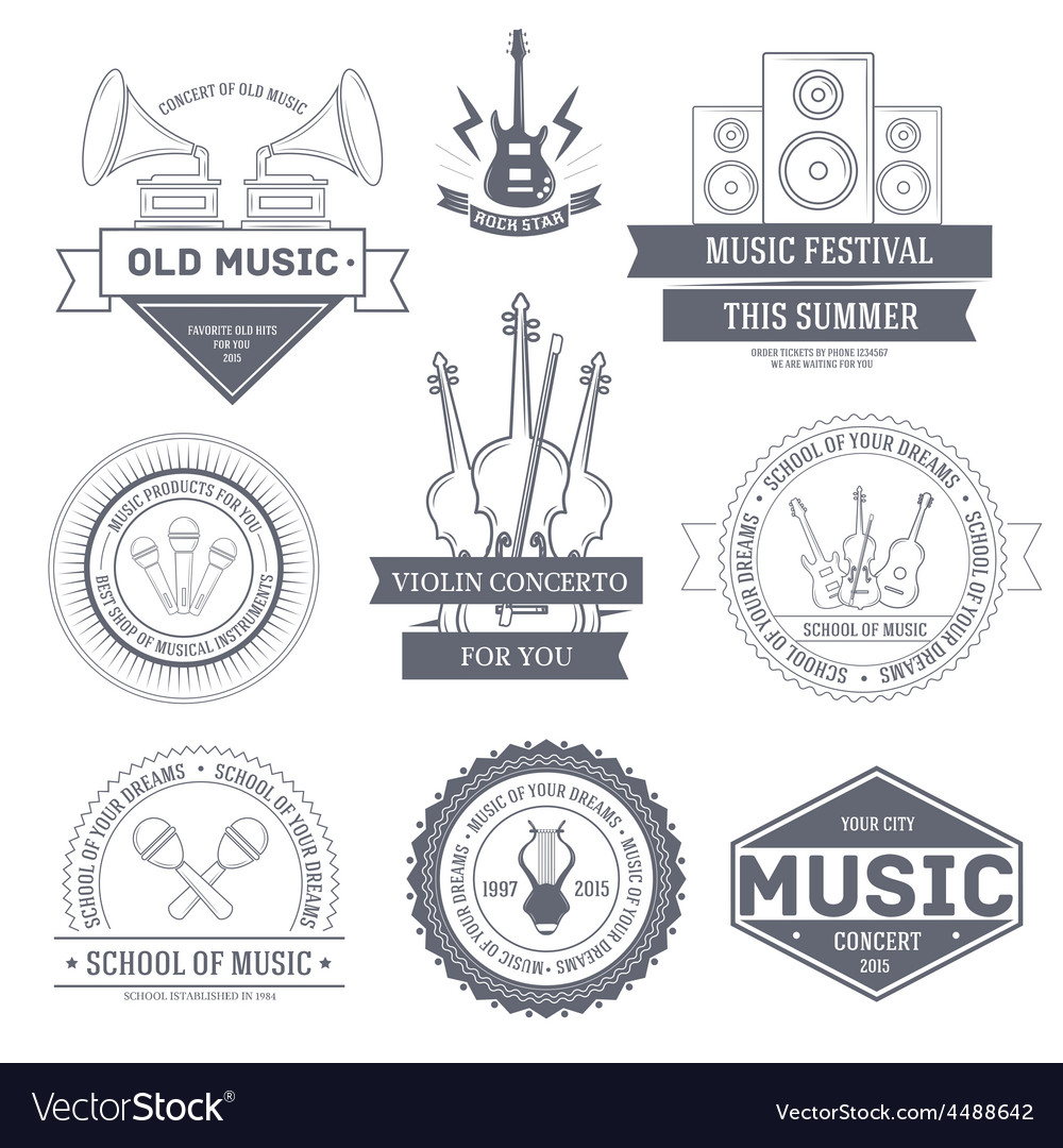Music set label template of emblem element for vector | Price: 1 Credit (USD $1)