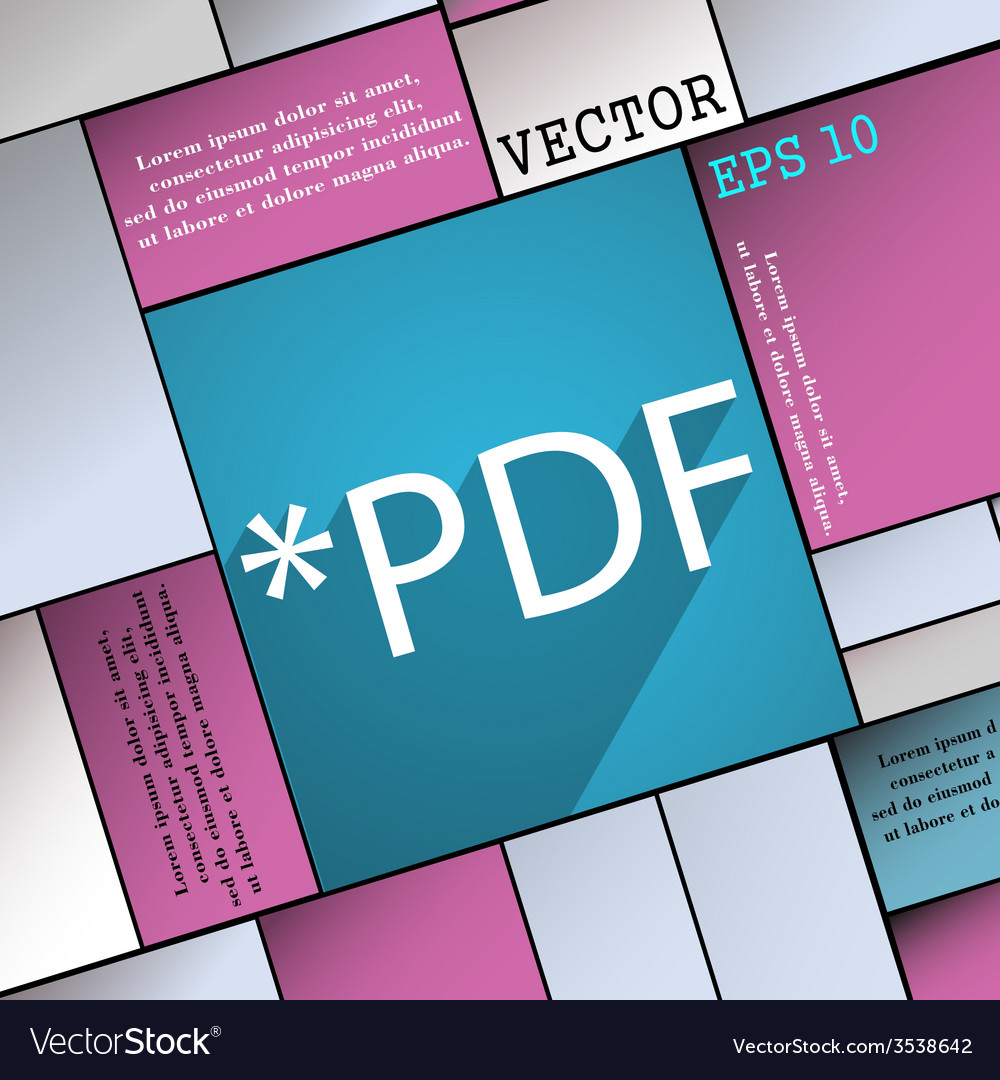 Pdf file extension icon symbol flat modern web vector | Price: 1 Credit (USD $1)