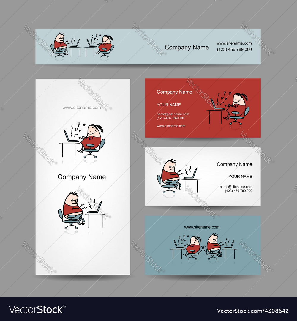 Peoples working at office business cards for your vector | Price: 1 Credit (USD $1)
