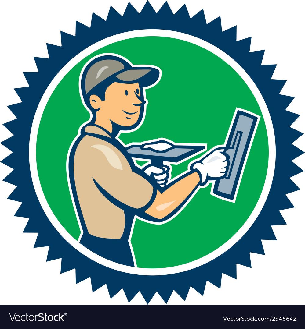 Plasterer masonry worker rosette cartoon vector | Price: 1 Credit (USD $1)