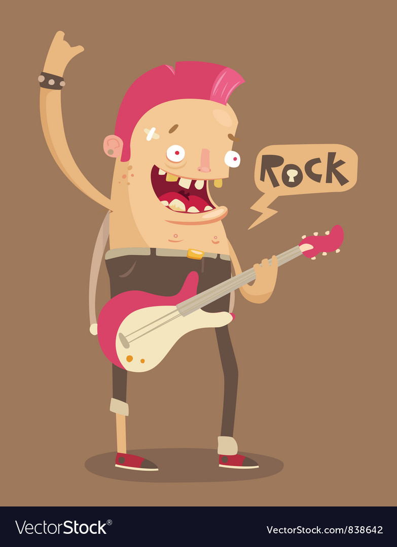 Punk rock guitar player vector | Price: 3 Credit (USD $3)