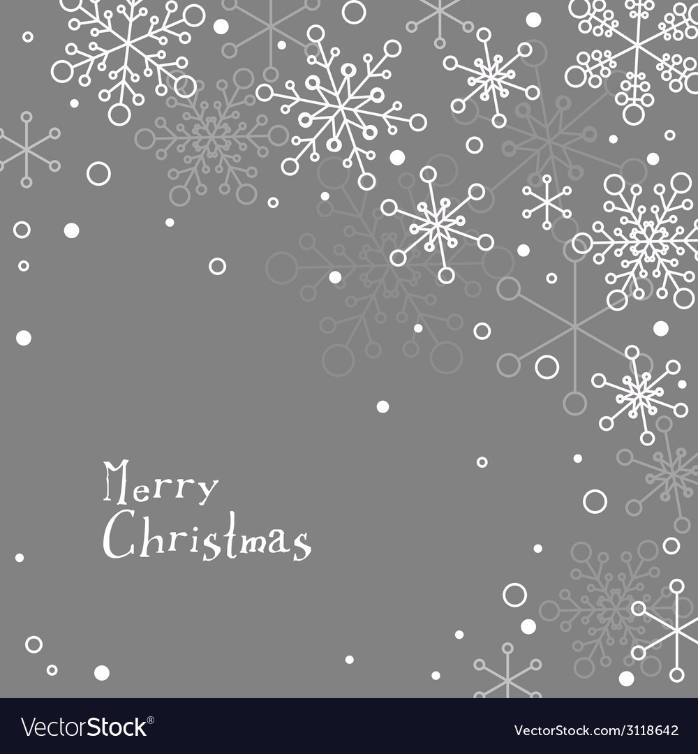 Retro simple christmas card with white snowflakes vector | Price: 1 Credit (USD $1)