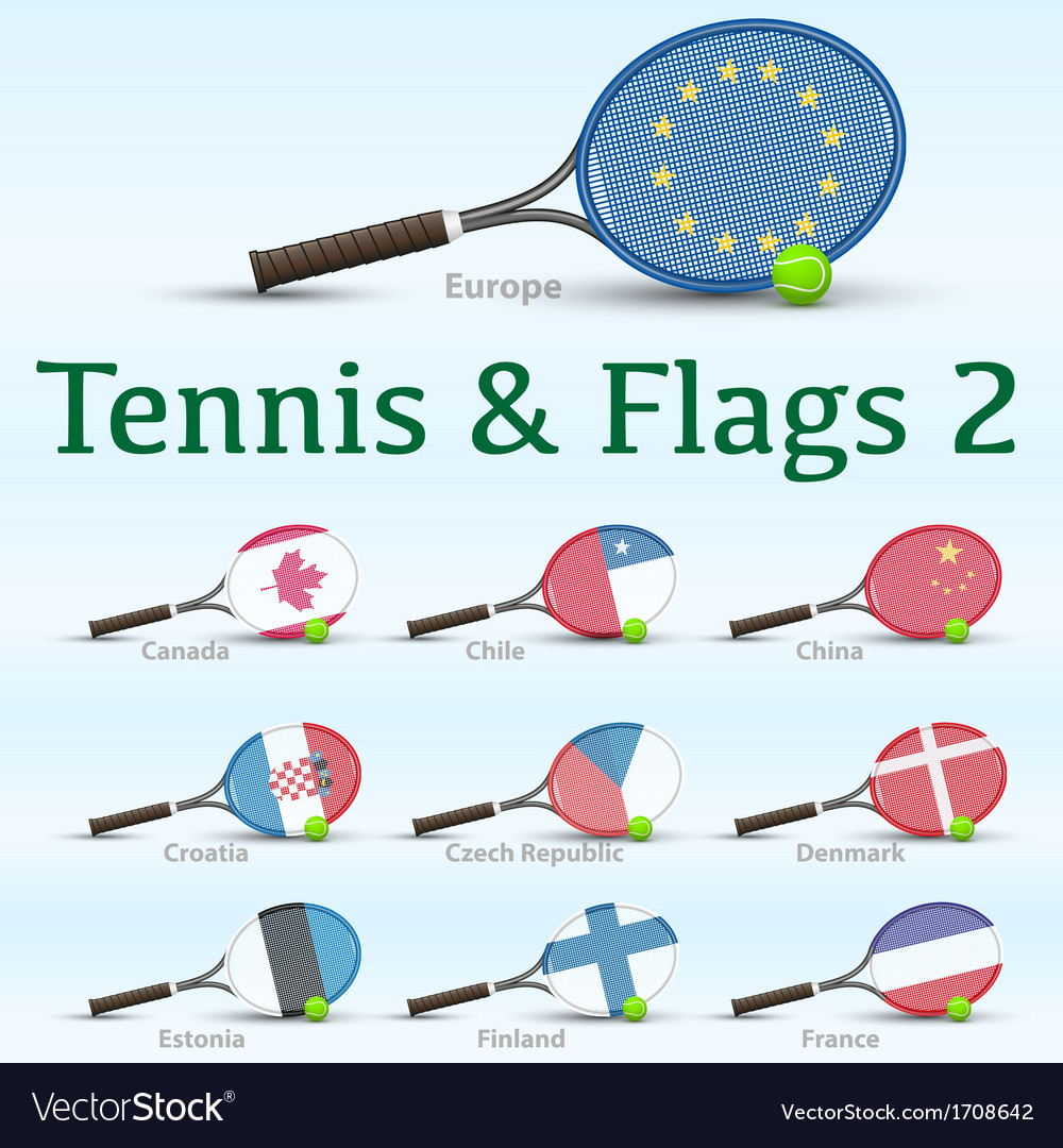 Tennis rackets  flags vector | Price: 1 Credit (USD $1)
