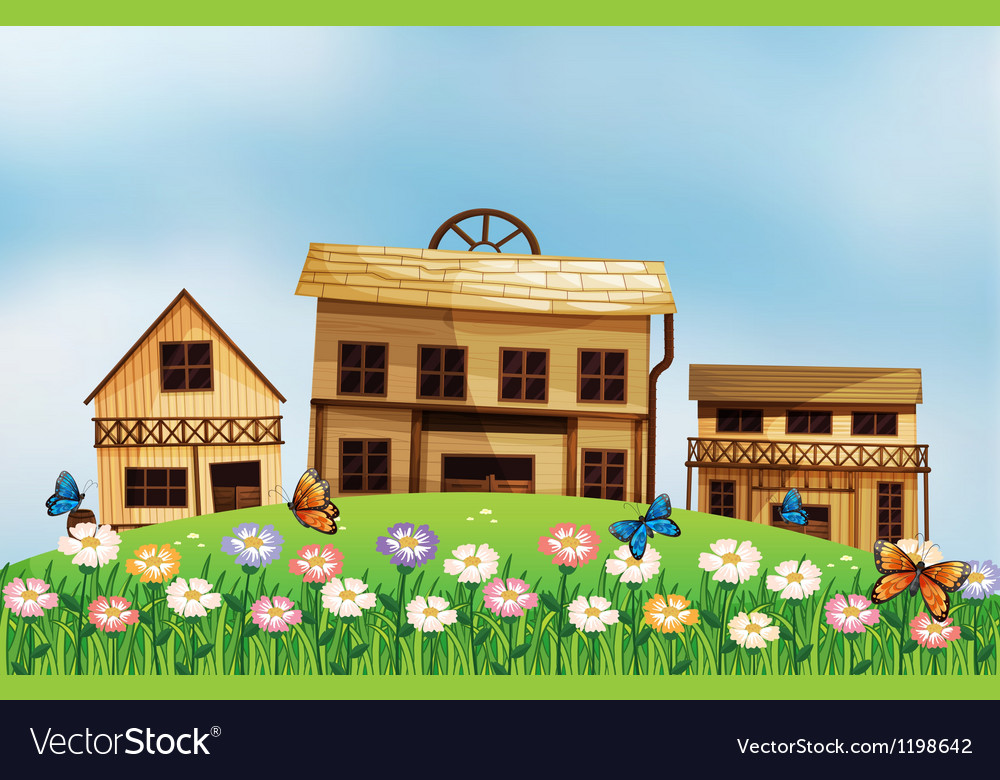 Three different wooden houses at the hill vector | Price: 1 Credit (USD $1)