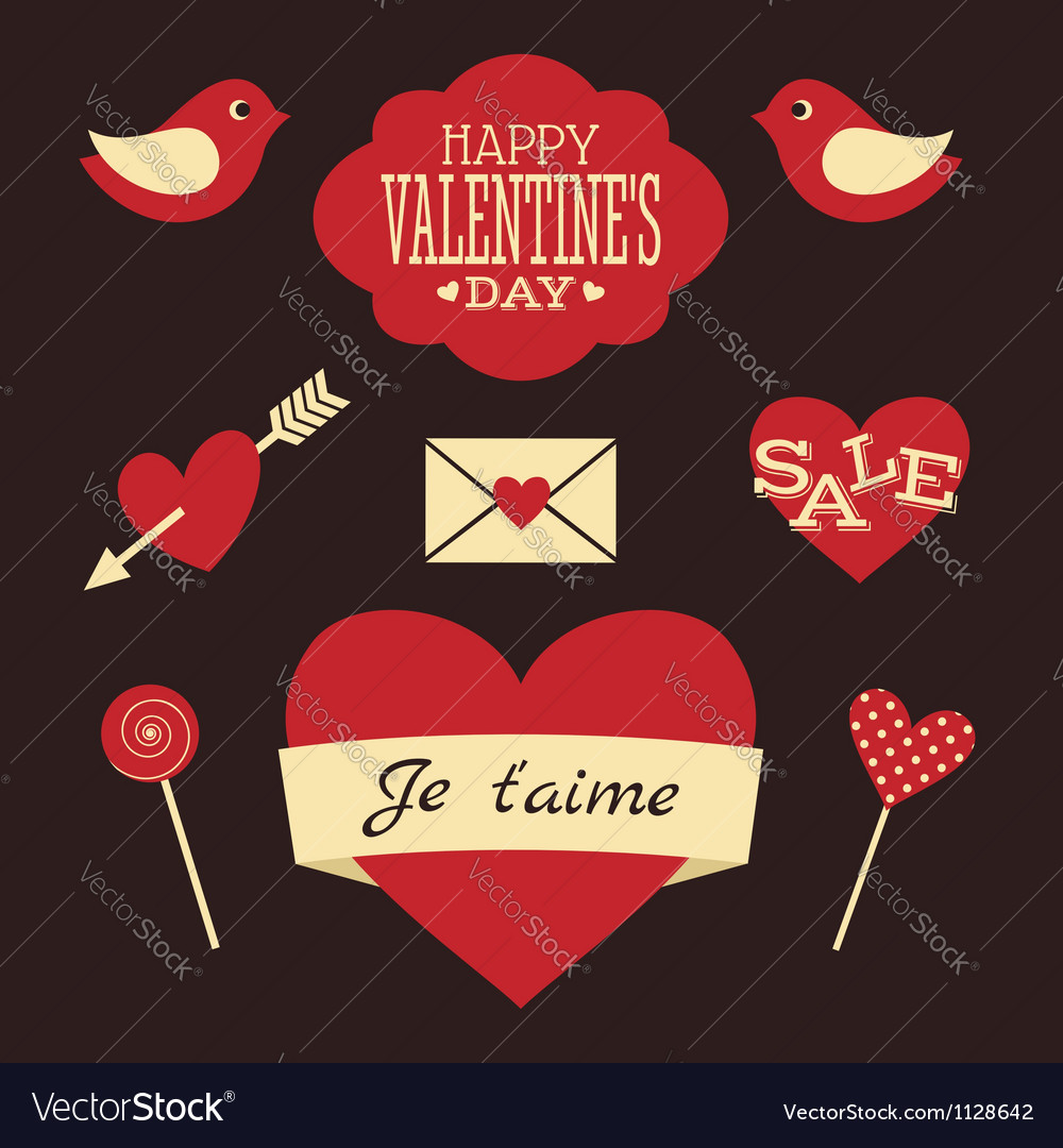 Valentines day retro collection vector | Price: 1 Credit (USD $1)