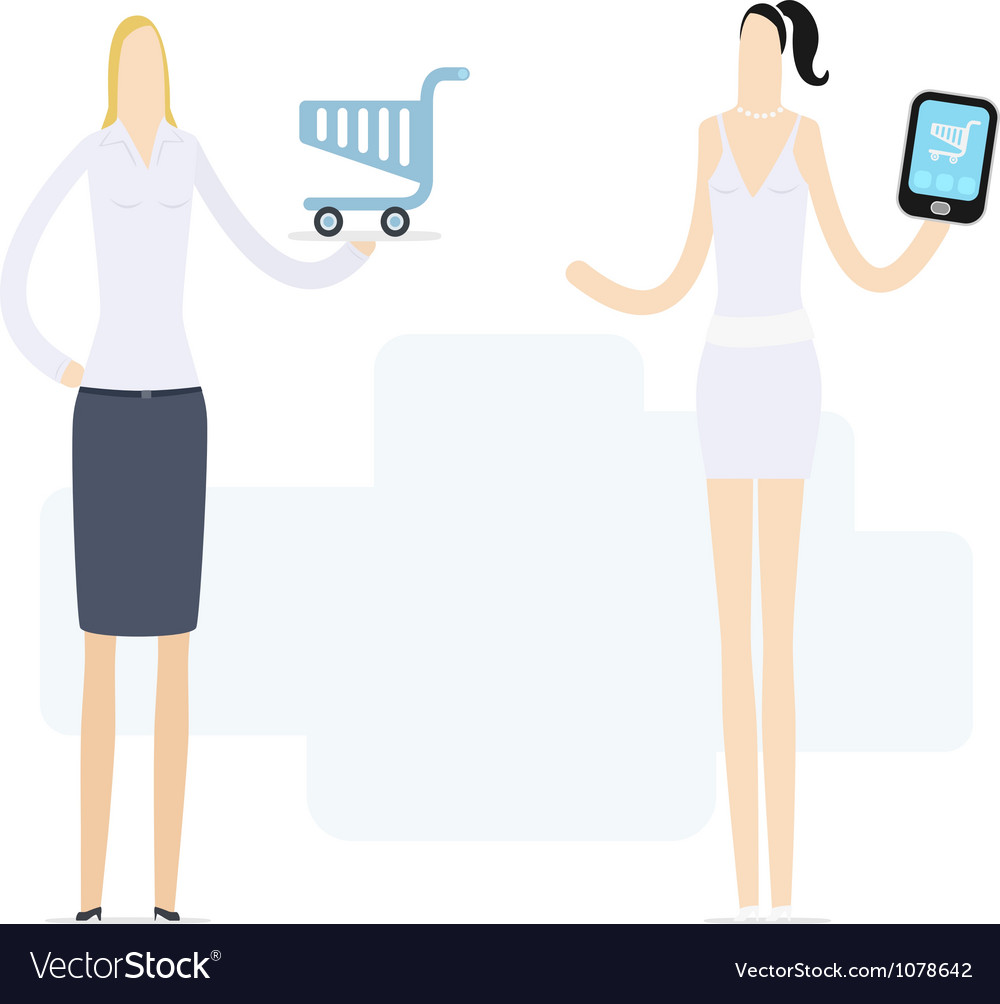 Young girl using a mobile shop vector | Price: 3 Credit (USD $3)