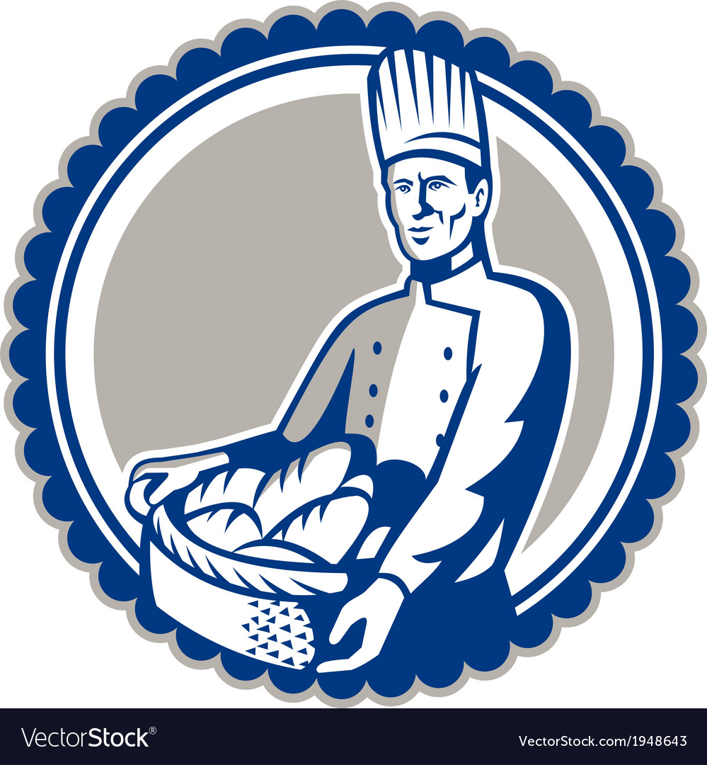 Baker holding basket bread loaf retro vector | Price: 1 Credit (USD $1)