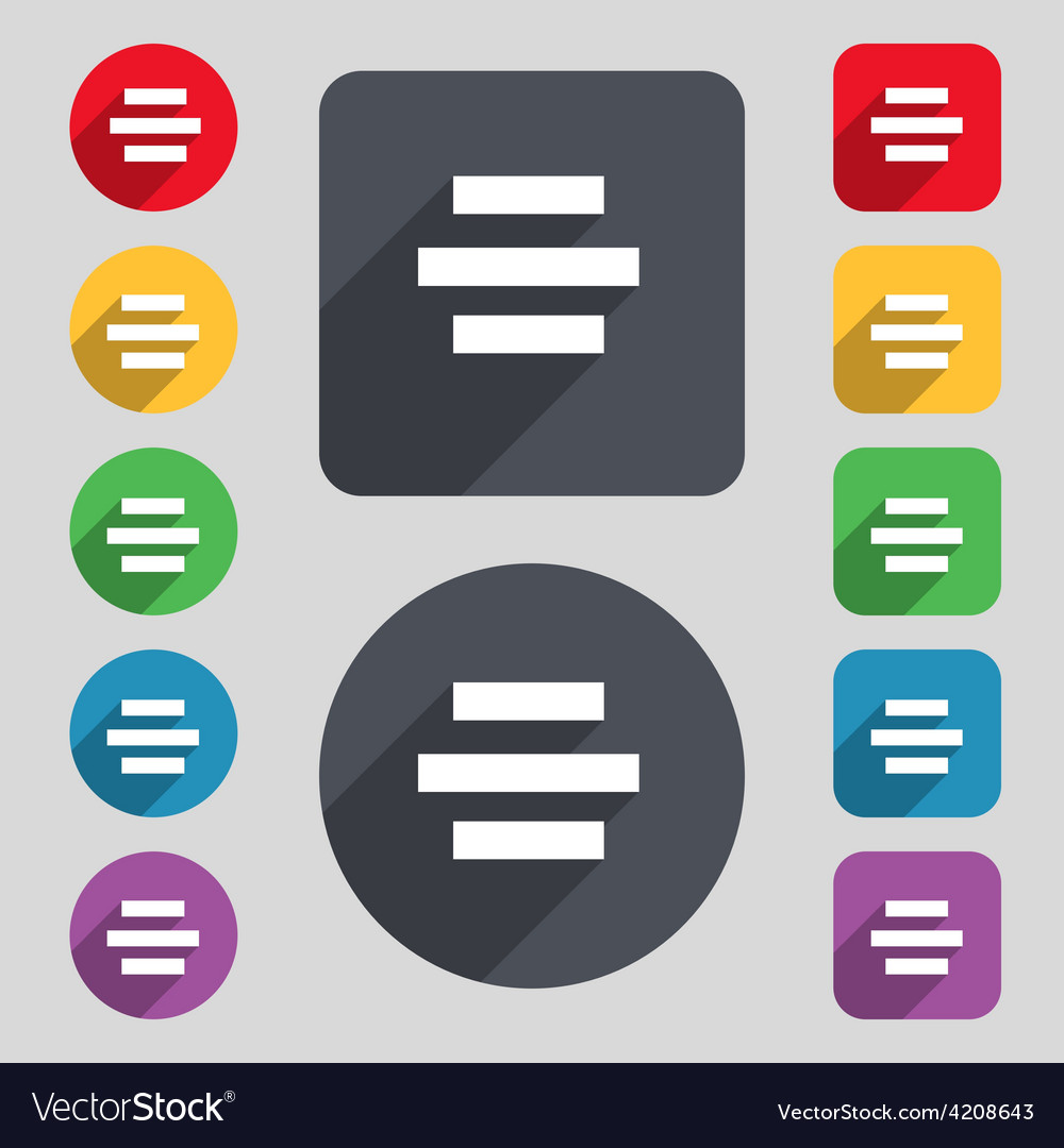 Center alignment icon sign a set of 12 colored vector | Price: 1 Credit (USD $1)