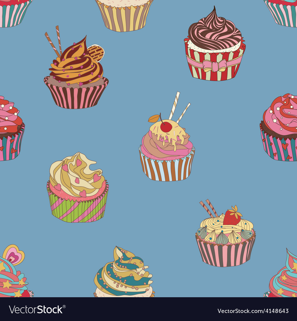 Cupcake pattern vector | Price: 1 Credit (USD $1)