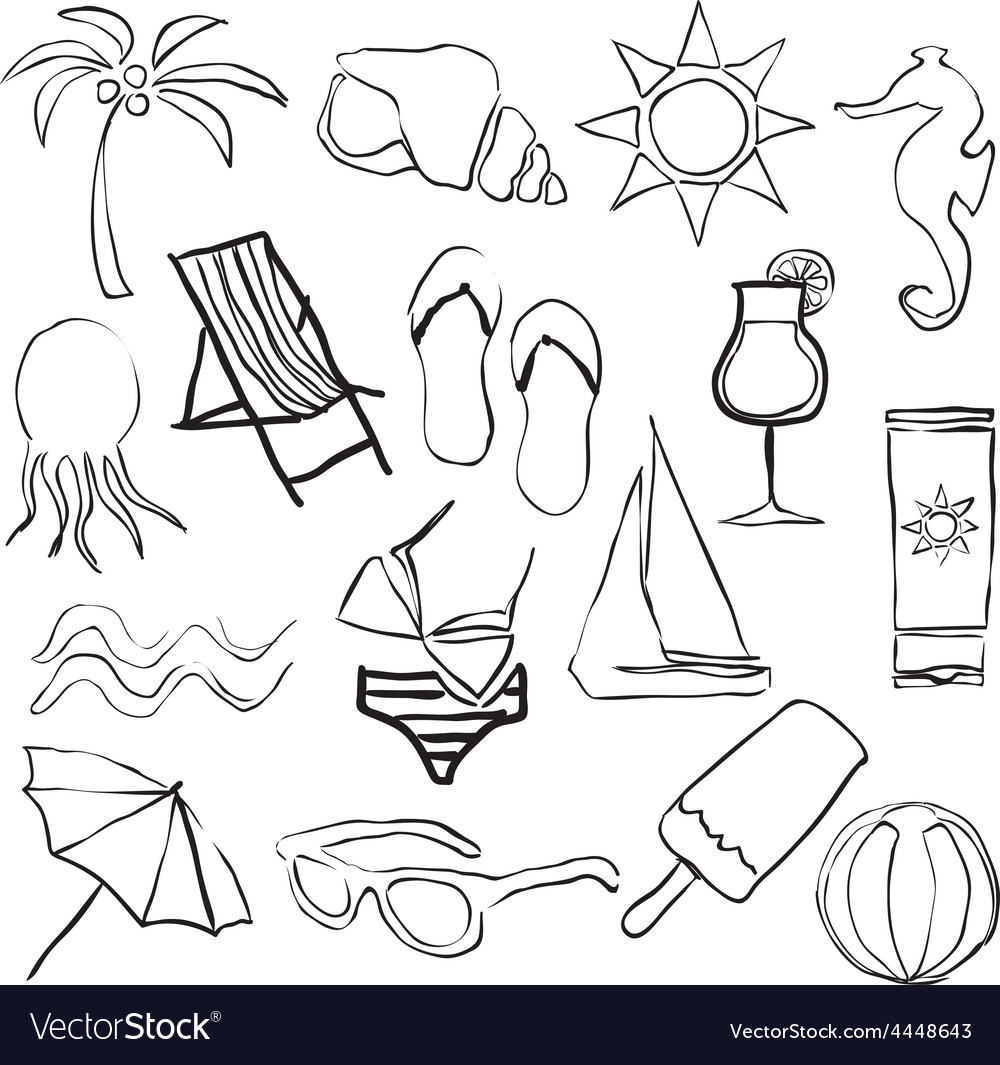 Doodle beach images vector | Price: 1 Credit (USD $1)