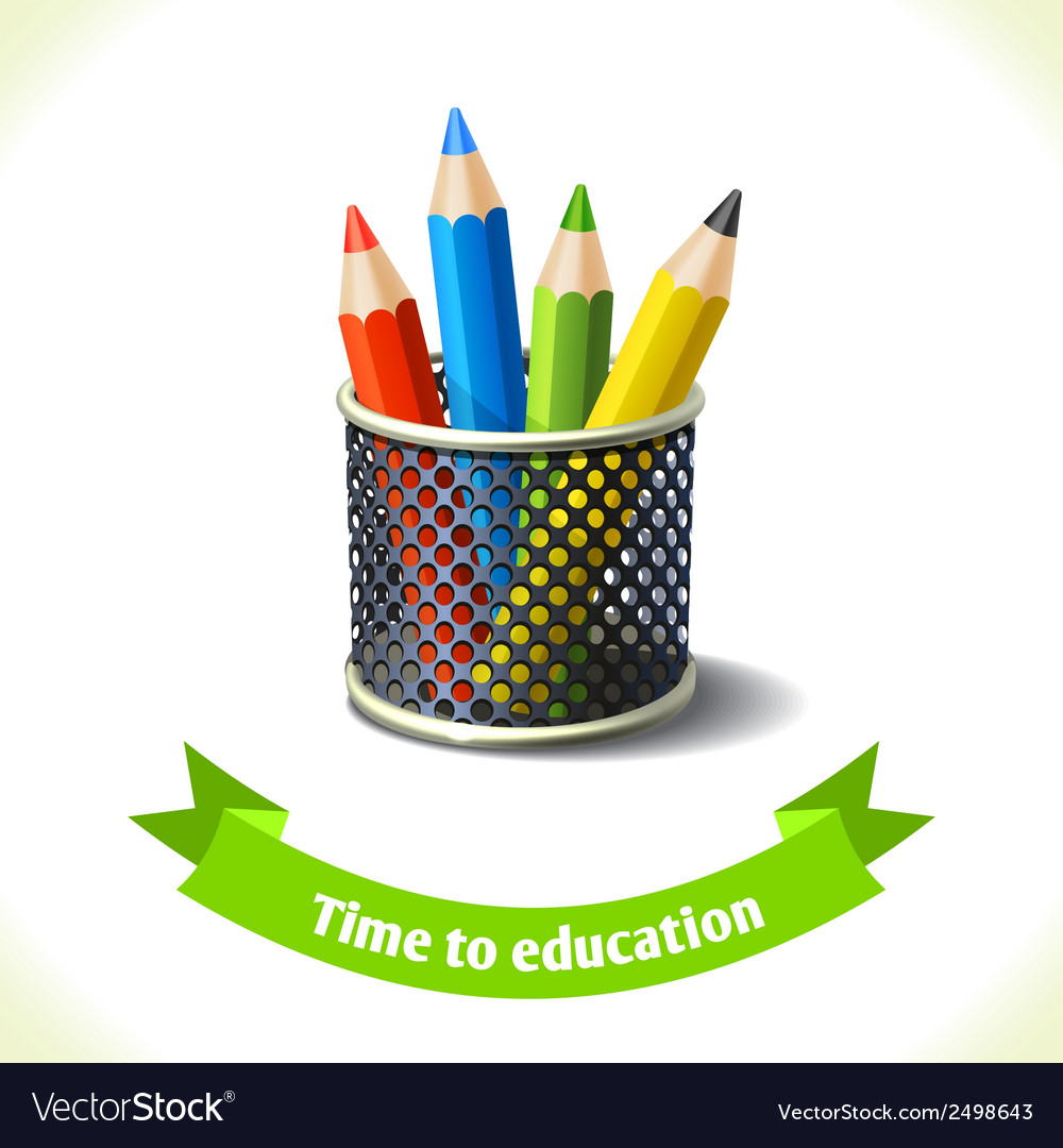 Education icon colored pencils vector | Price: 1 Credit (USD $1)