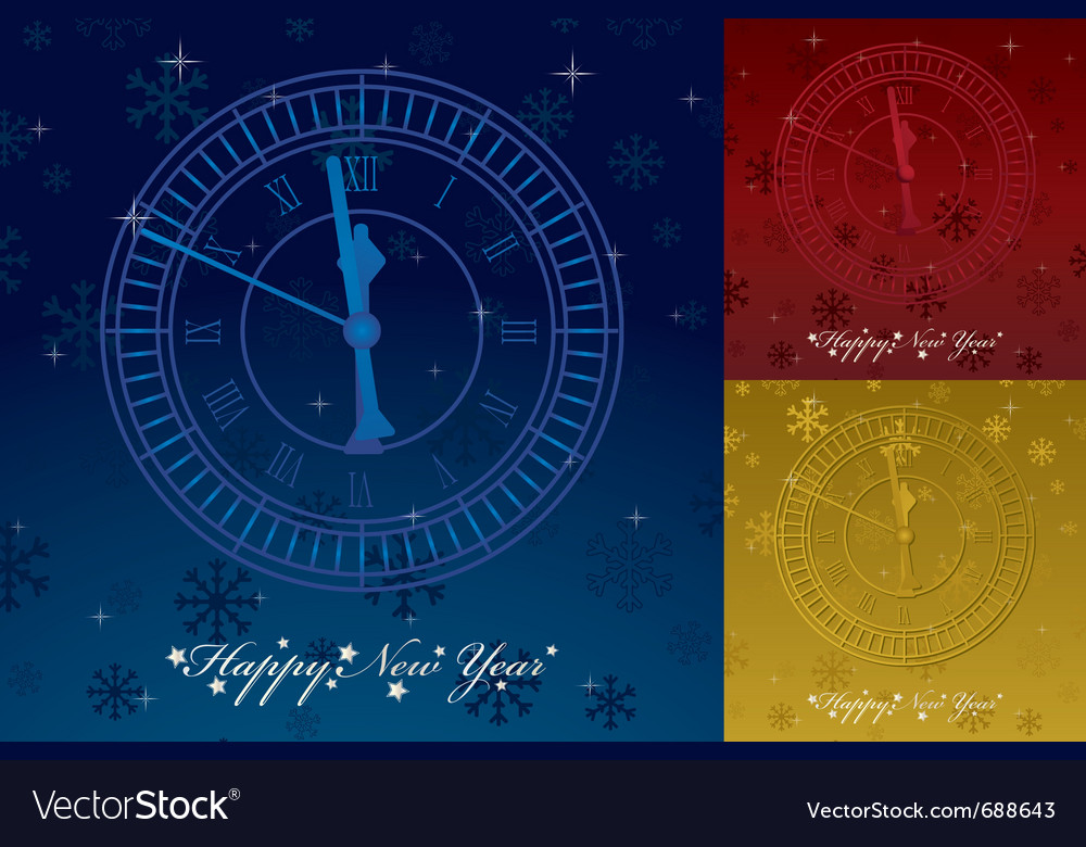 Happy new years greeting card with clock and seaso vector | Price: 1 Credit (USD $1)