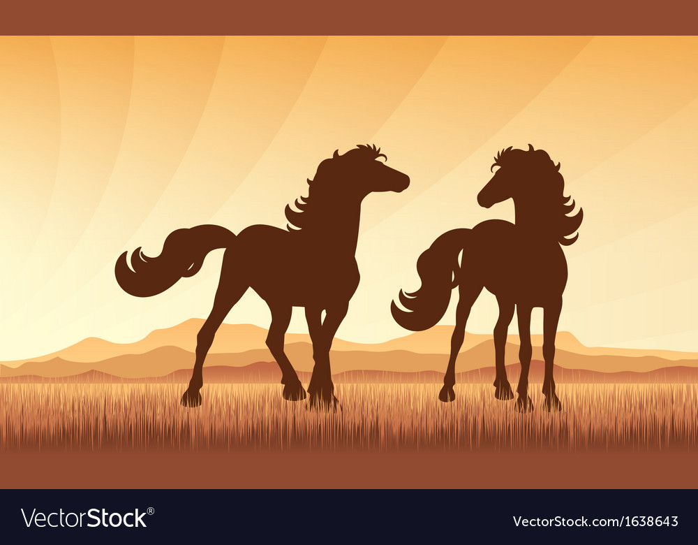 Horses on field on sunset background vector   Price: 1 Credit (USD $1)
