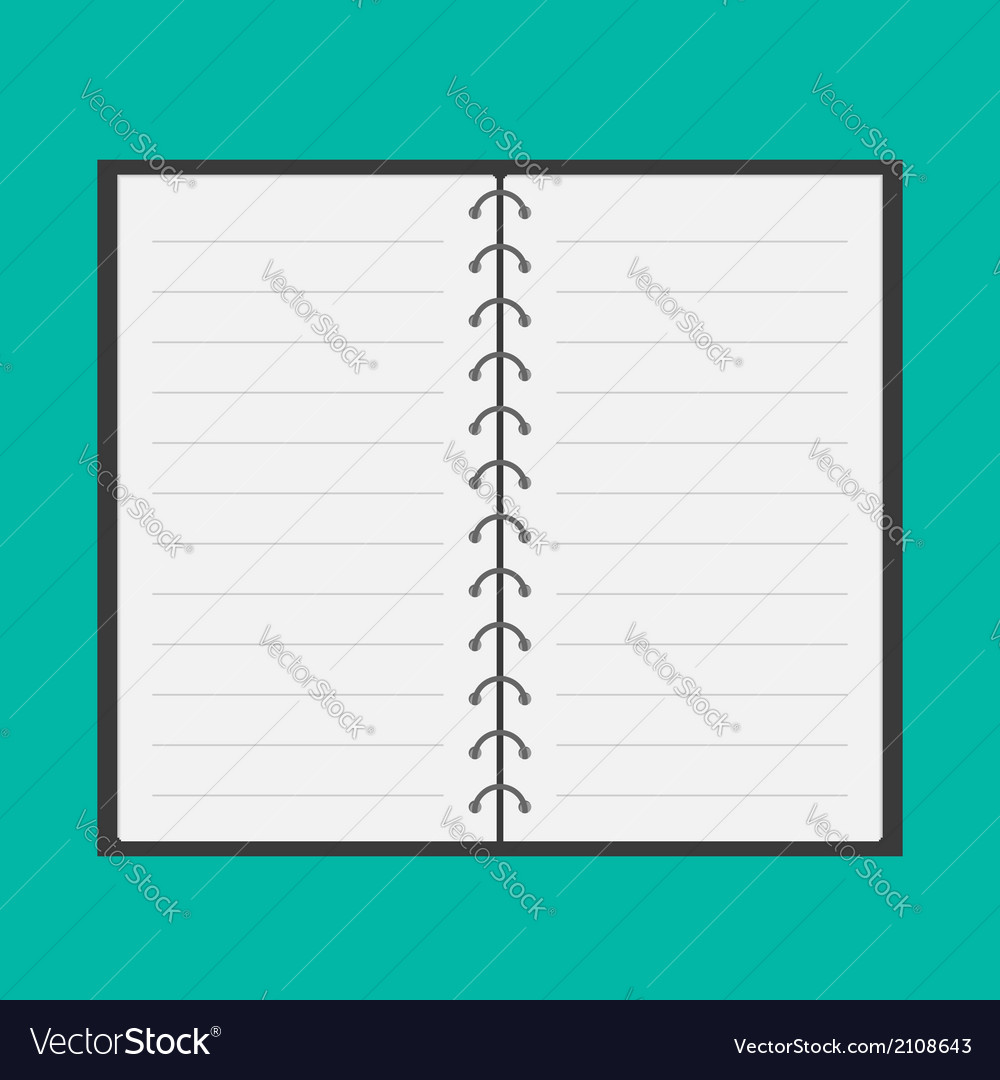 Open notepad with spiral and blank lined paper vector | Price: 1 Credit (USD $1)