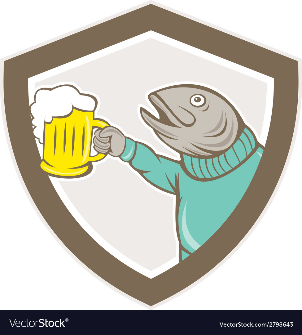 Trout fish holding beer mug shield cartoon vector | Price: 1 Credit (USD $1)