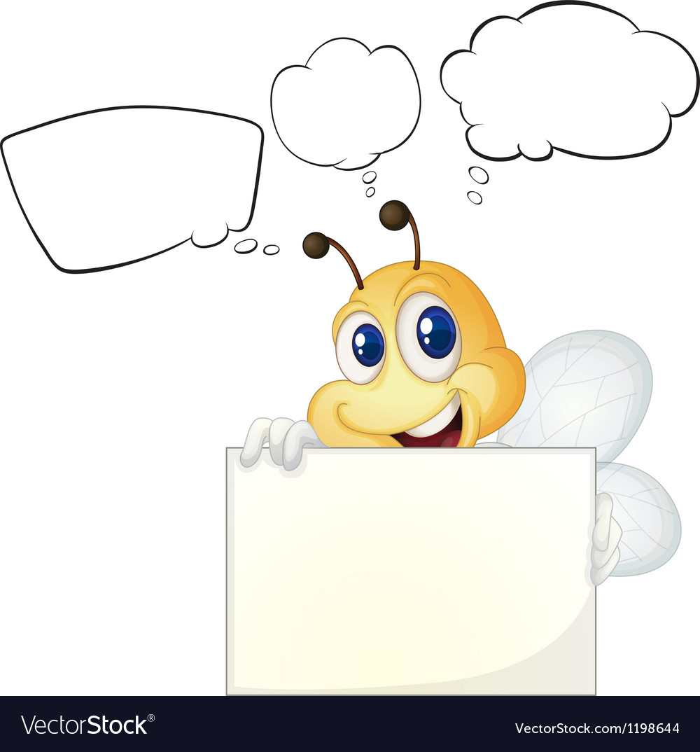 A bee holding a white board vector | Price: 1 Credit (USD $1)
