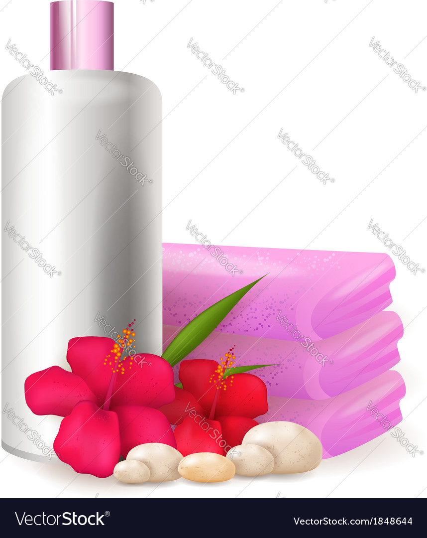 Bottle of shampoo with hibiscus vector | Price: 1 Credit (USD $1)