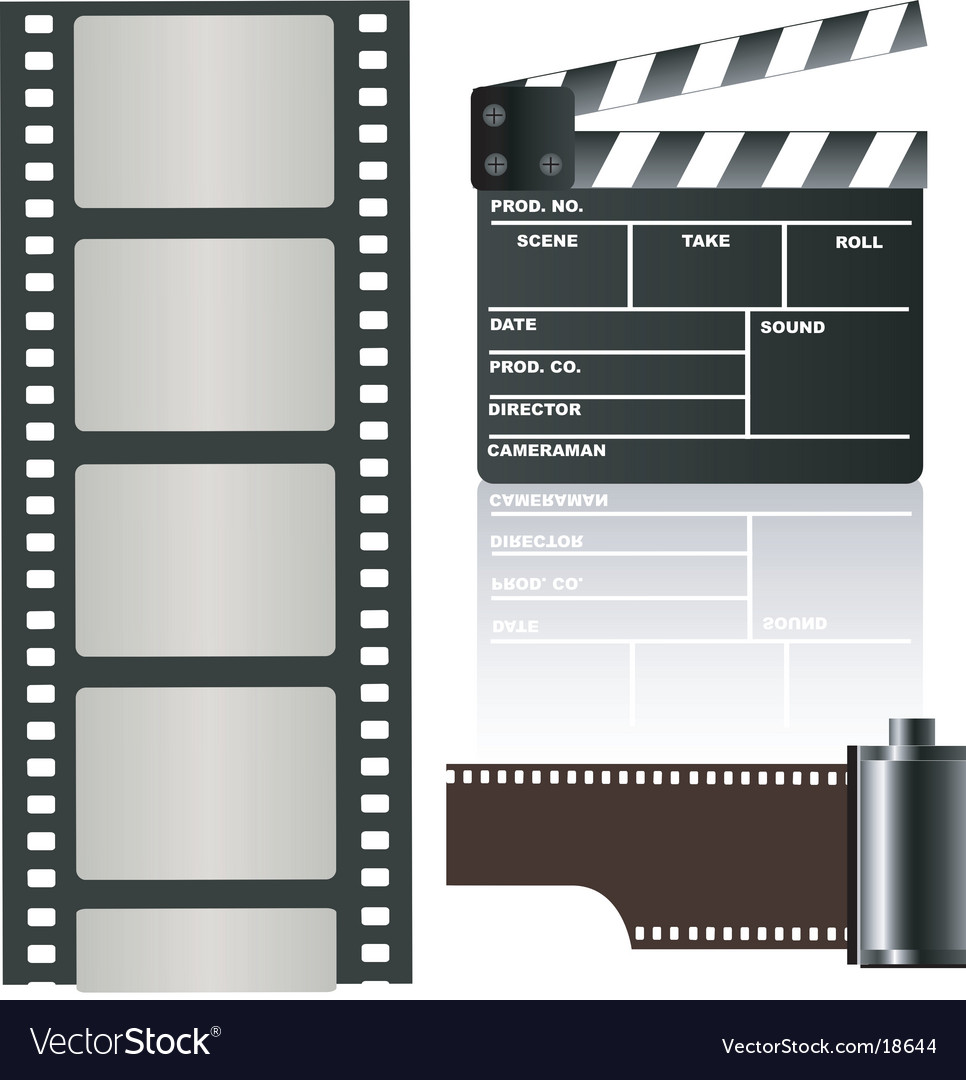 Film negative and clapboard vector | Price: 1 Credit (USD $1)