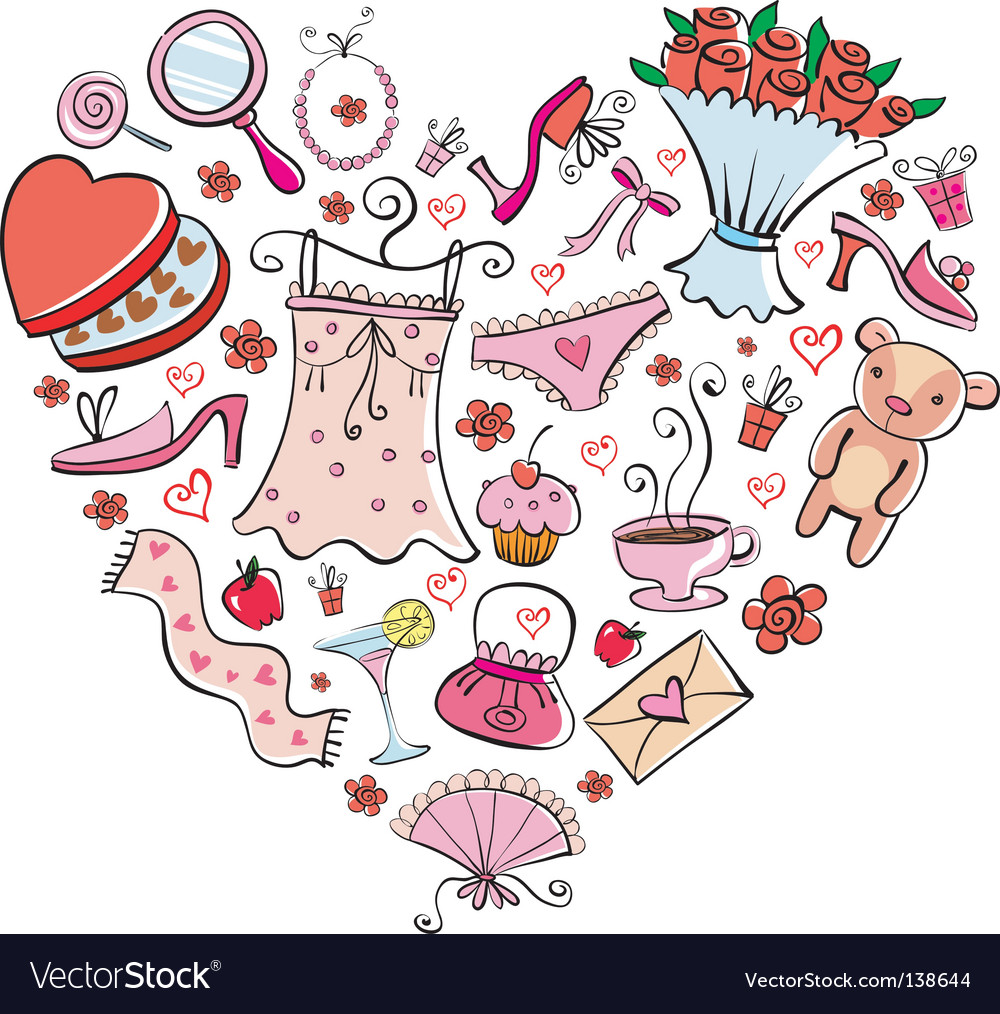 Gifts for girl heart shape vector | Price: 3 Credit (USD $3)