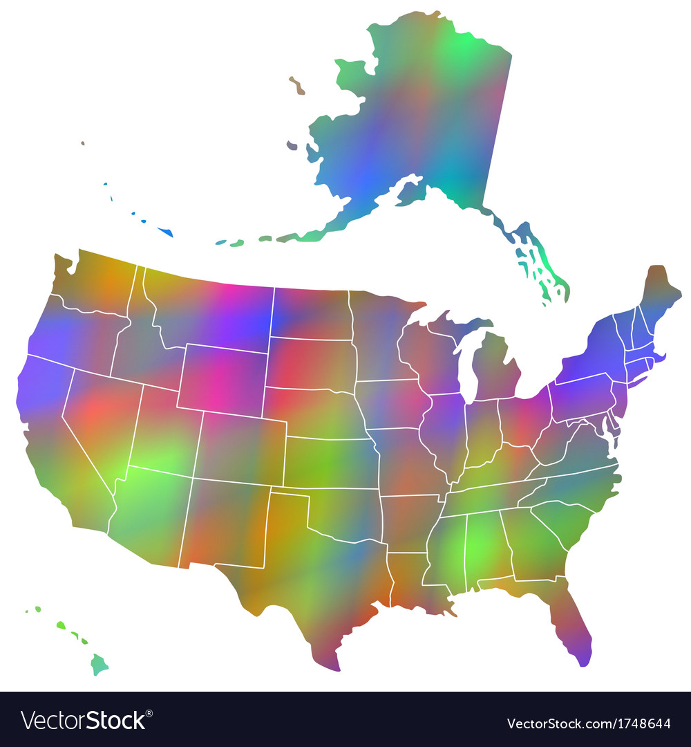 Motley map of usa vector | Price: 1 Credit (USD $1)