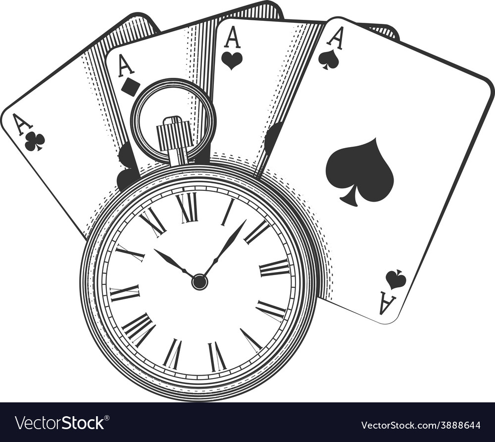Old pocket watch and playing cards vector | Price: 1 Credit (USD $1)