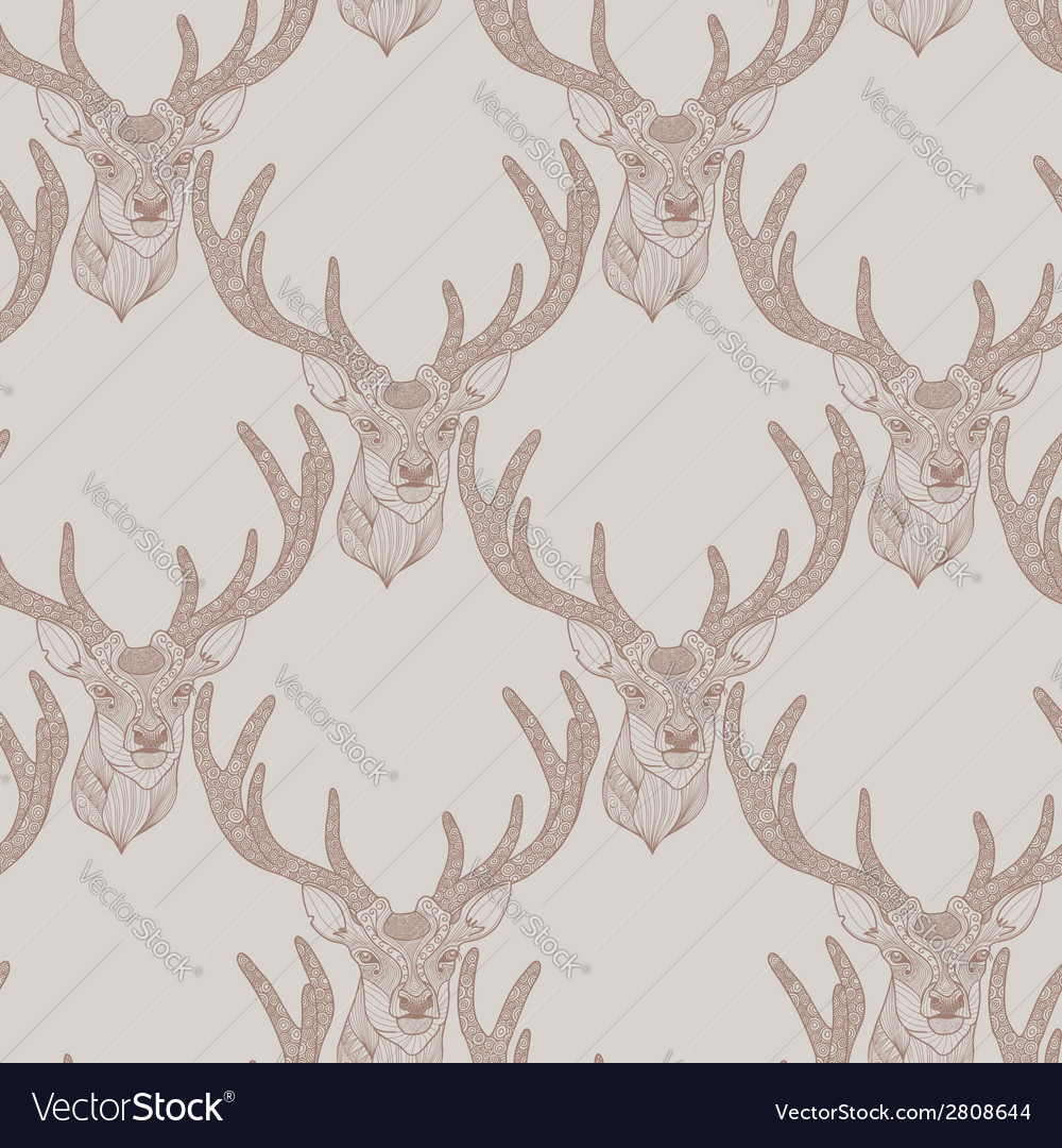 Seamless deer pattern vector | Price: 1 Credit (USD $1)
