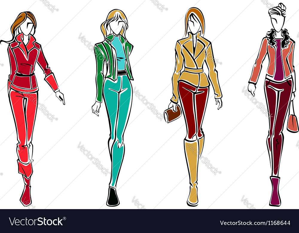 Sketches of fashion models vector | Price: 1 Credit (USD $1)