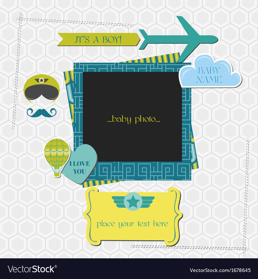 Baby boy shower or arrival card vector | Price: 1 Credit (USD $1)