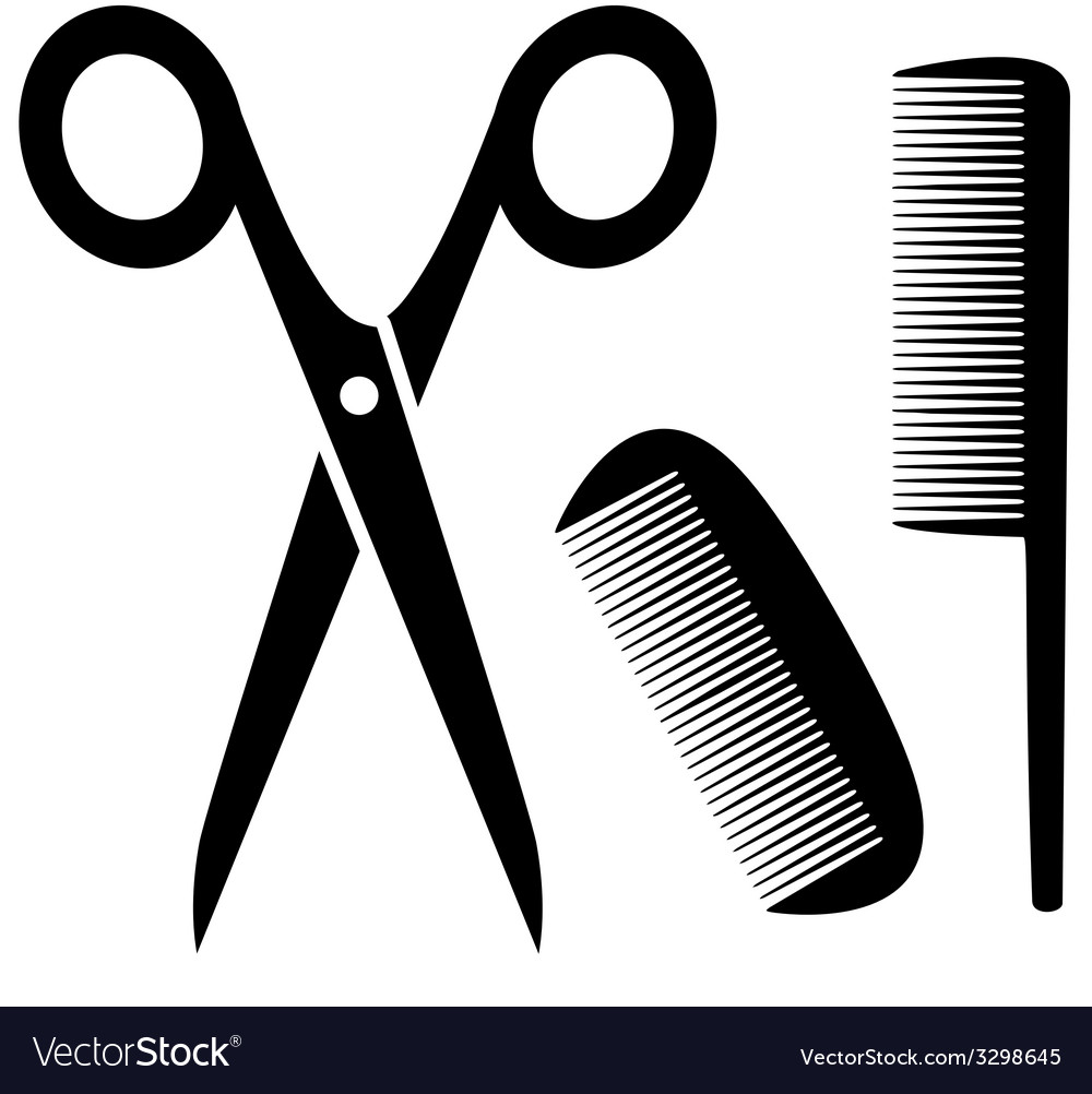 Barber tools icon with scissors and comb vector | Price: 1 Credit (USD $1)