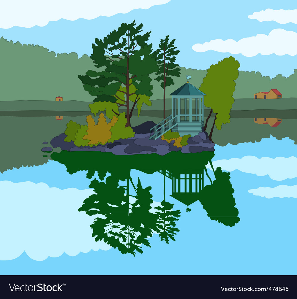 Beautiful island in a lake vector | Price: 1 Credit (USD $1)