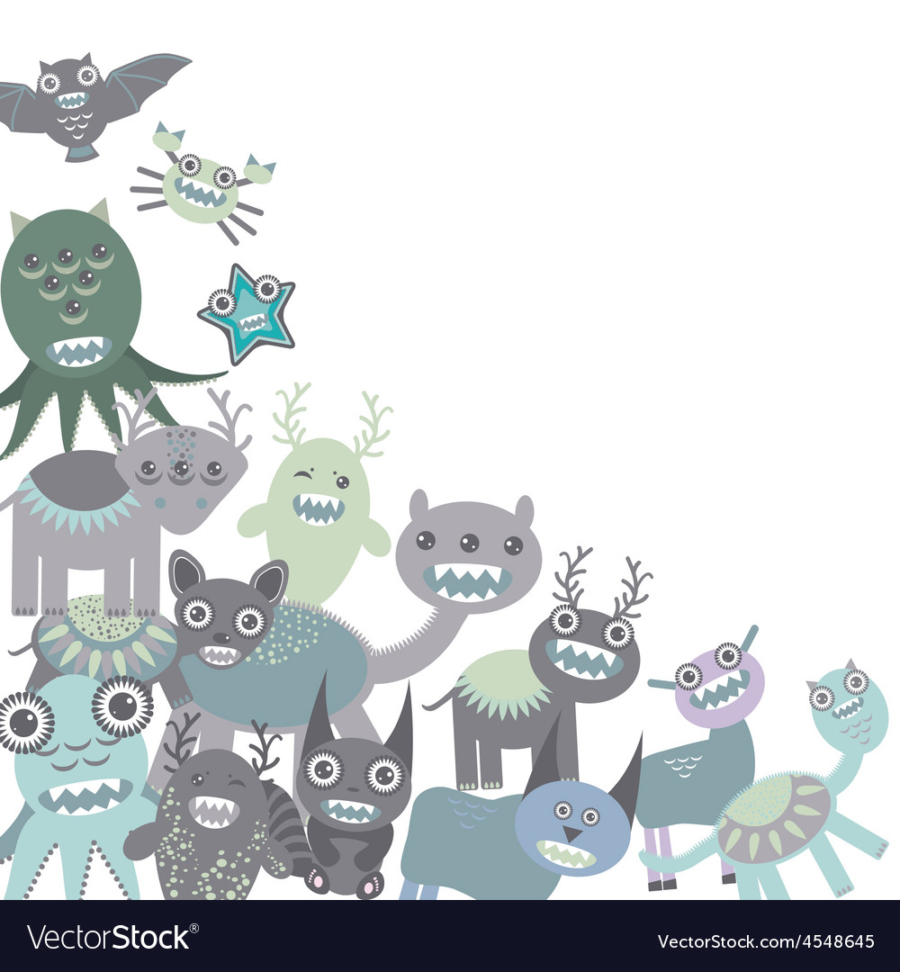 Blue and gray funny monsters set on white vector | Price: 1 Credit (USD $1)