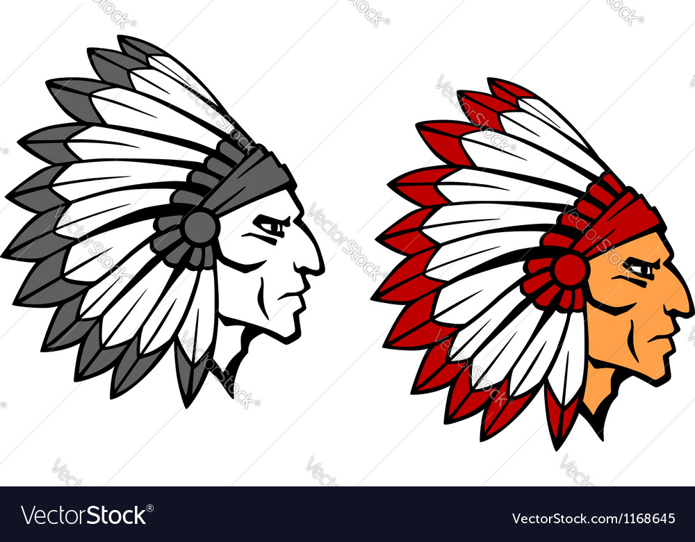 Brave indian warrior mascot vector | Price: 1 Credit (USD $1)