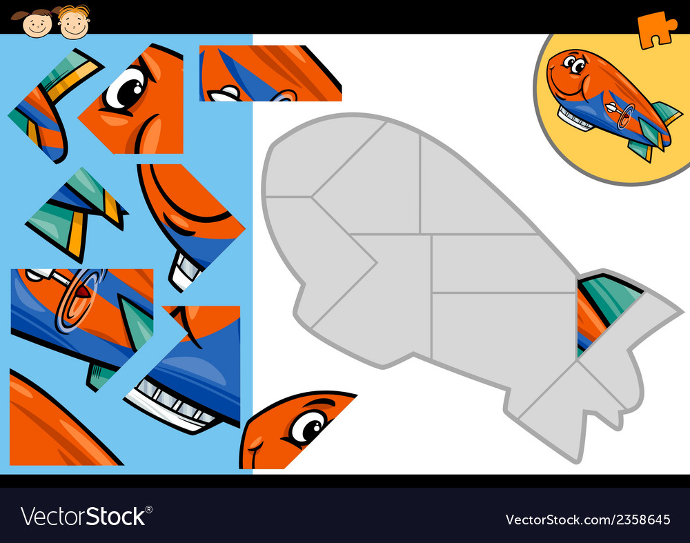 Cartoon blimp jigsaw puzzle game vector | Price: 1 Credit (USD $1)