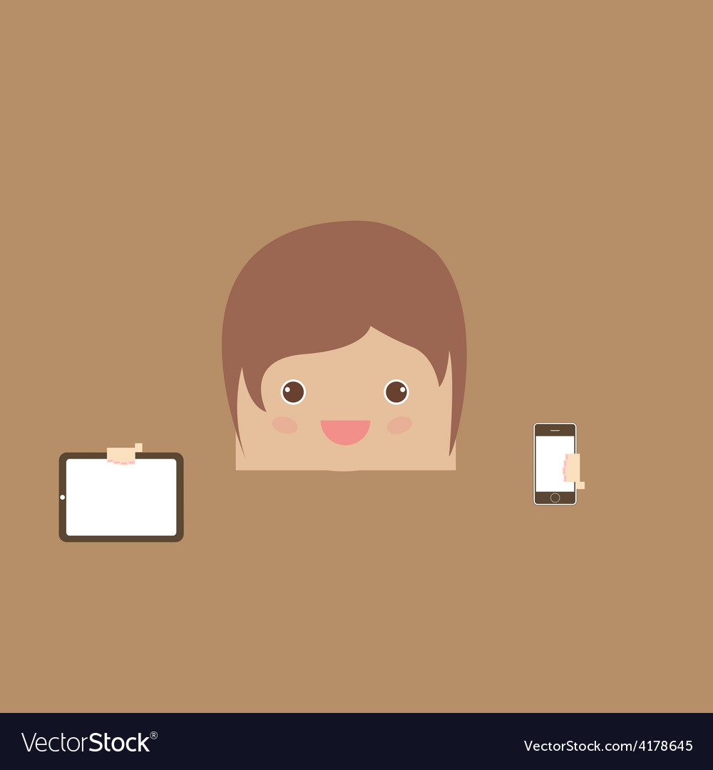 Cartoon doodle man rectangle hand phone of busines vector | Price: 1 Credit (USD $1)