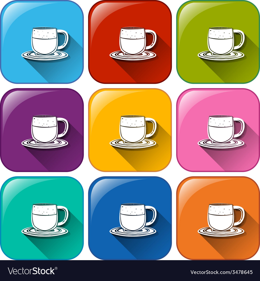 Colourful buttons with mugs and saucers vector | Price: 1 Credit (USD $1)