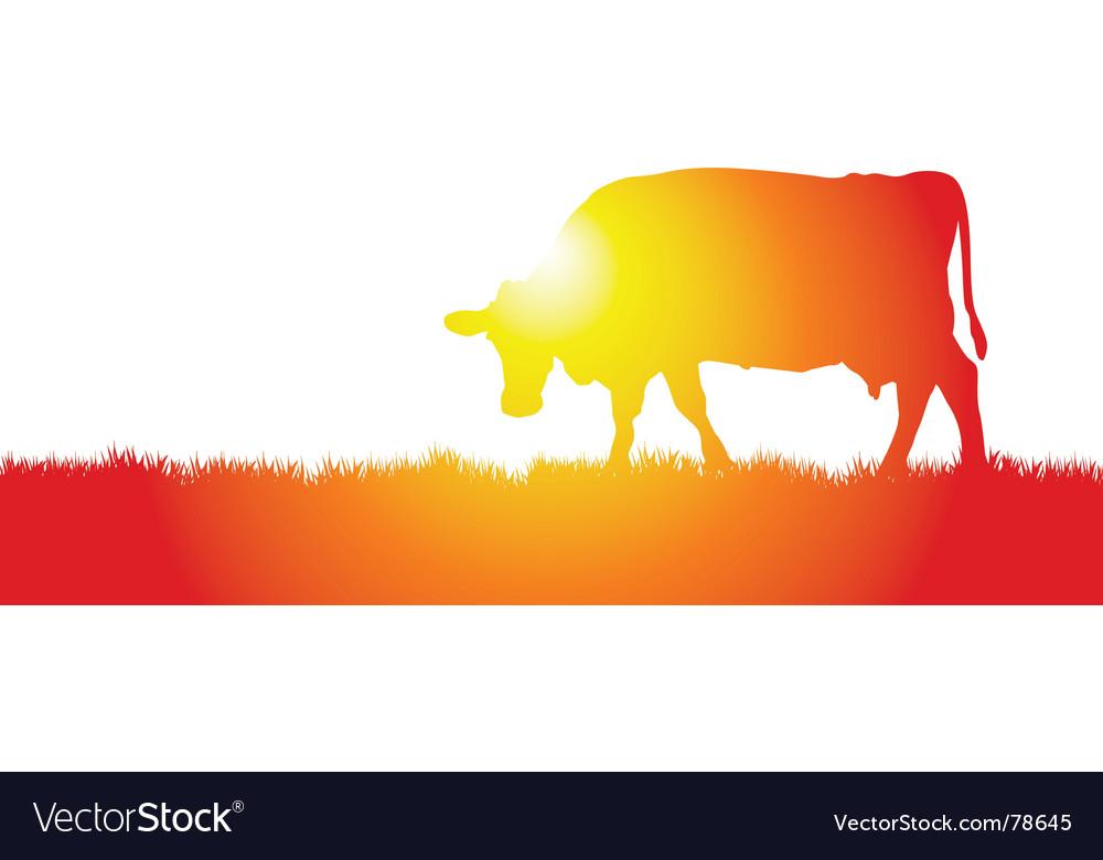 Cow meadow vector | Price: 1 Credit (USD $1)