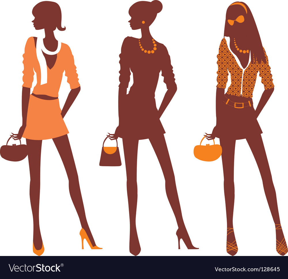 Fashionable silhouettes vector | Price: 1 Credit (USD $1)
