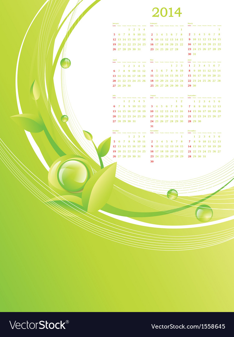 Green eco calendar 2014 vector | Price: 1 Credit (USD $1)