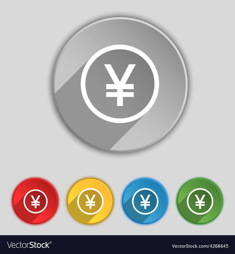 Japanese yuan icon sign symbol on five flat vector | Price: 1 Credit (USD $1)