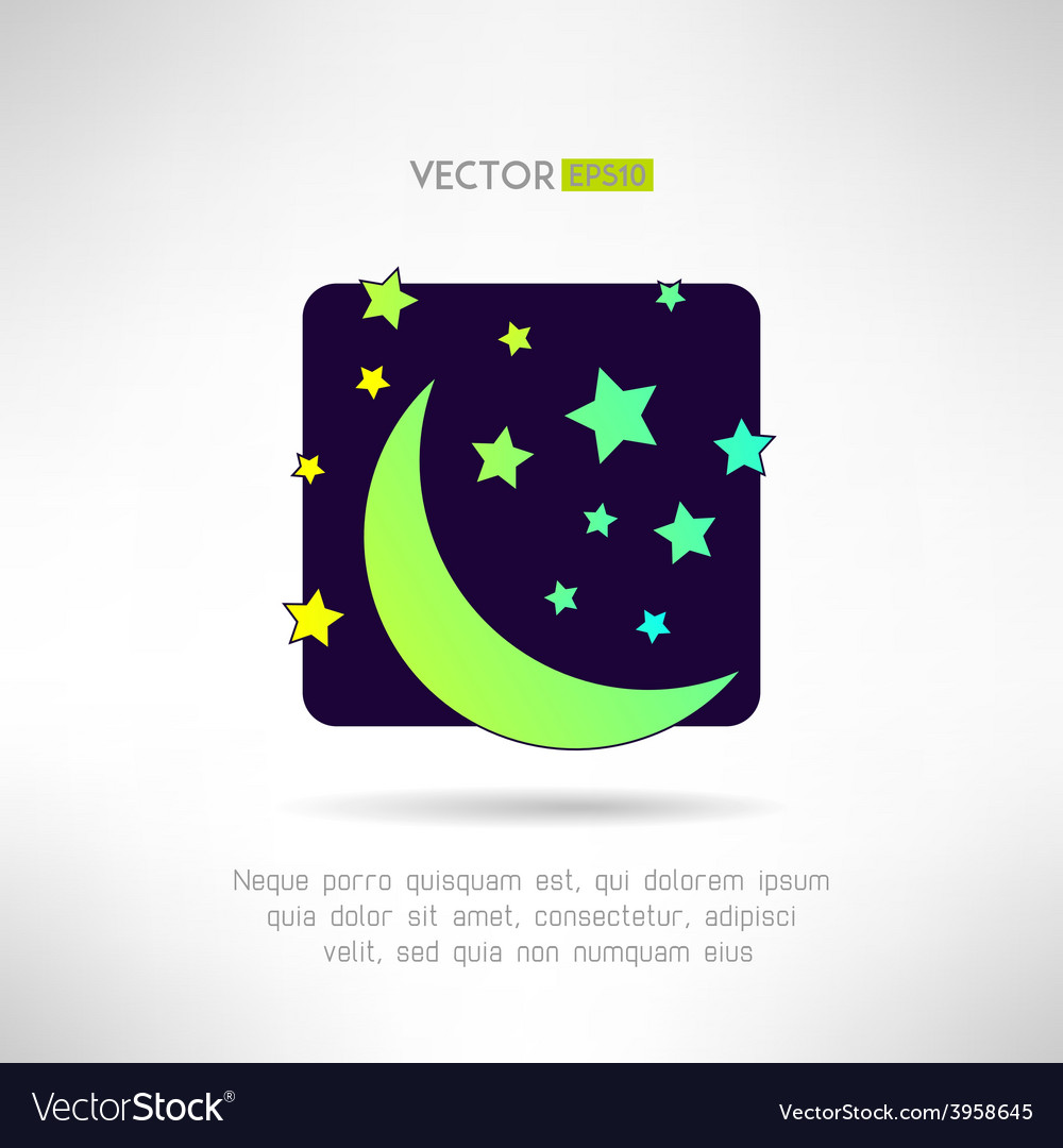 Moon crescent and stars icon night sky sign vector | Price: 1 Credit (USD $1)