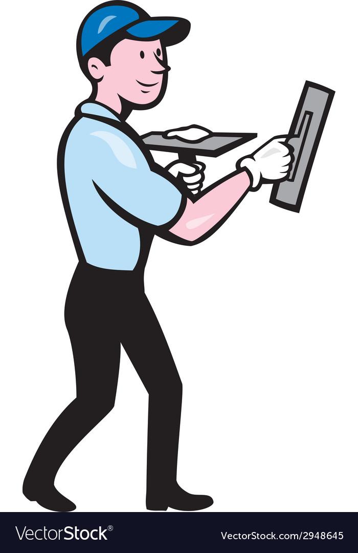 Plasterer masonry worker trowel cartoon vector | Price: 1 Credit (USD $1)