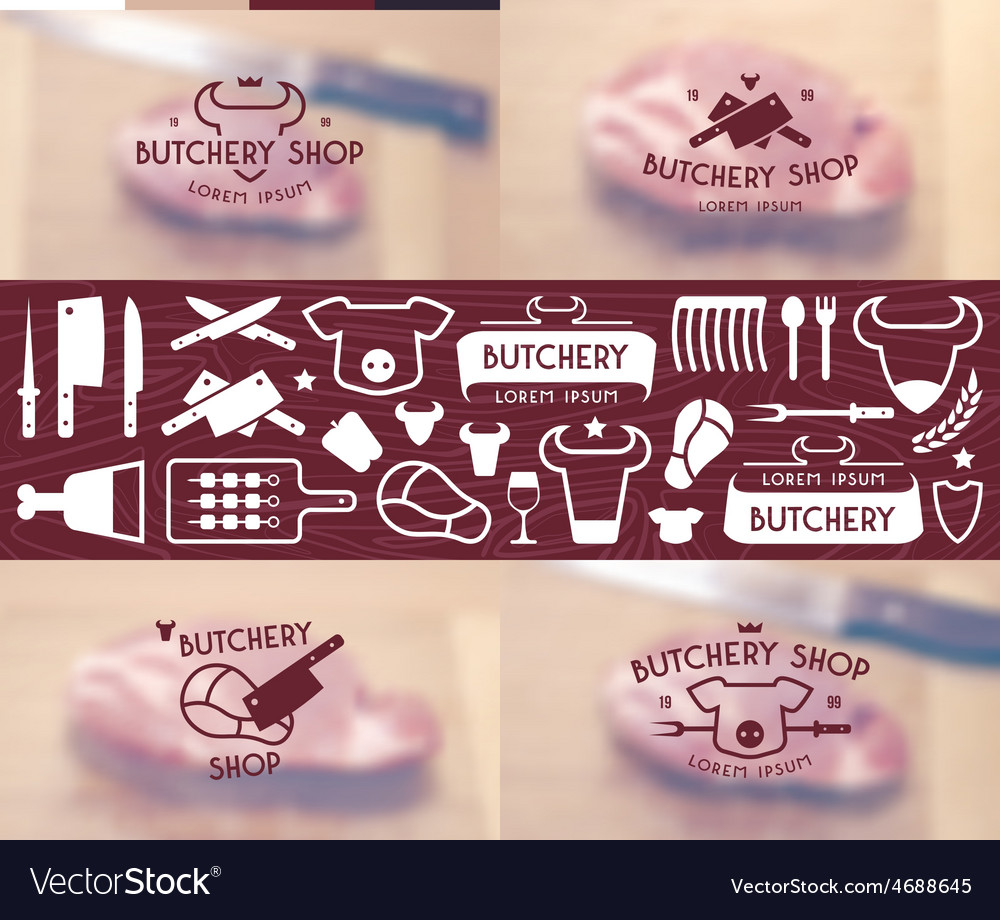 Set of labels templates and logo of butchery shop vector | Price: 1 Credit (USD $1)