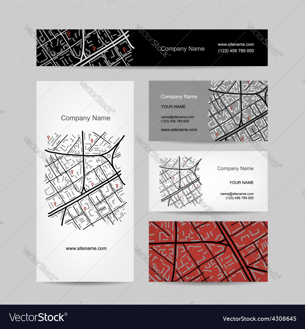 Sketch of city map business card design vector | Price: 1 Credit (USD $1)