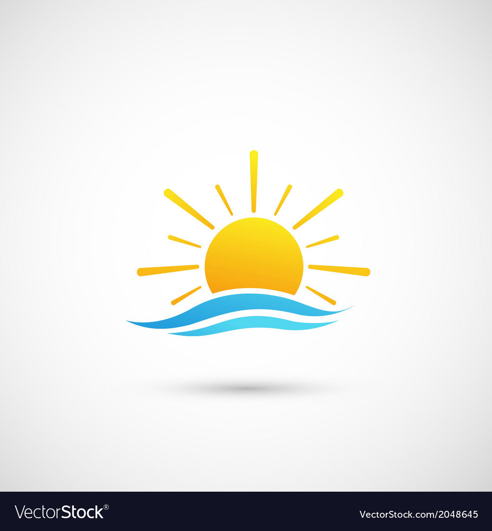 Sunset and sea waves vector | Price: 1 Credit (USD $1)