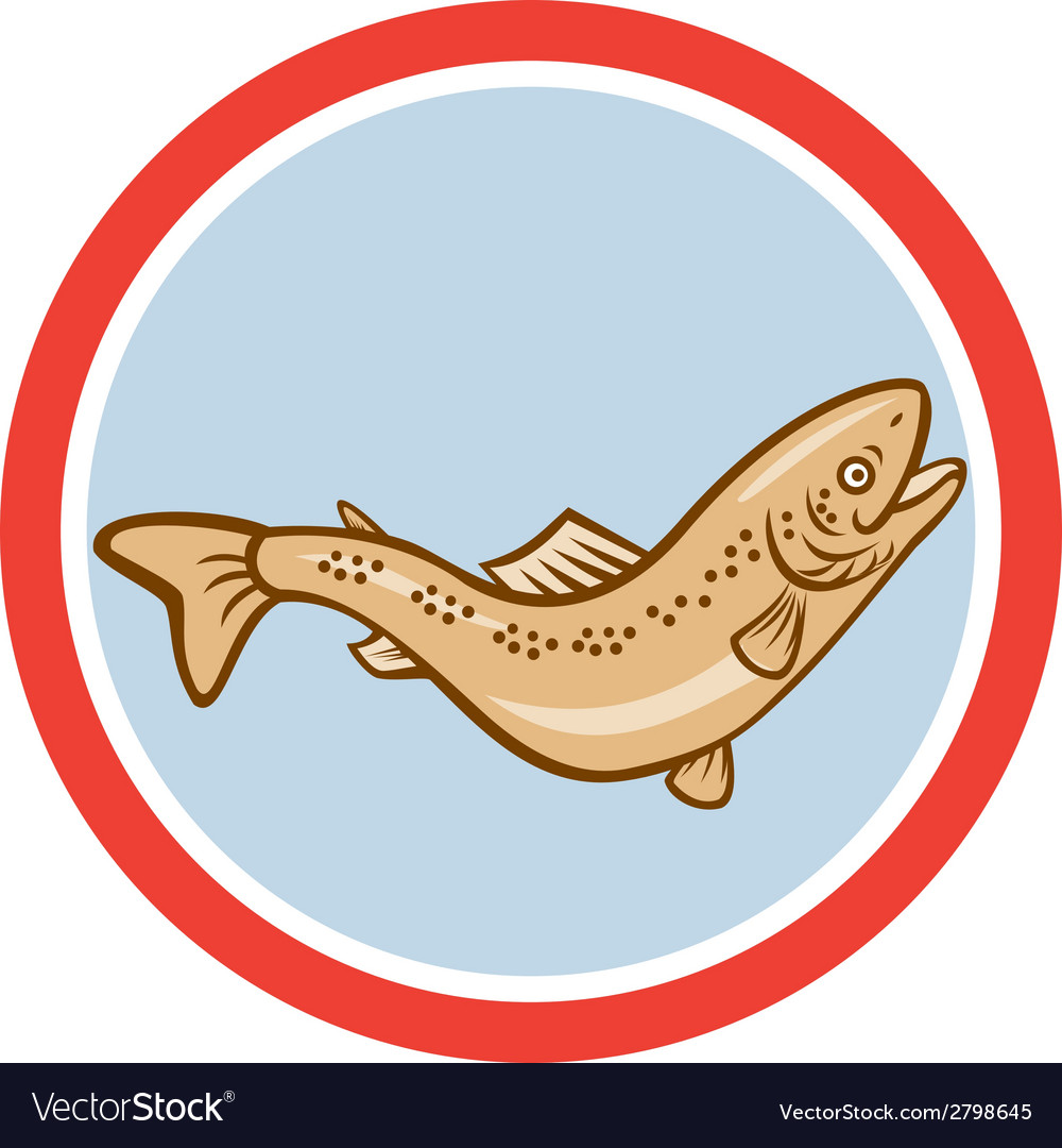 Trout rainbow jumping circle cartoon vector | Price: 1 Credit (USD $1)