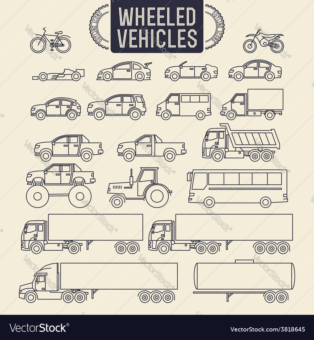 Wheeled vehicles icons vector | Price: 3 Credit (USD $3)